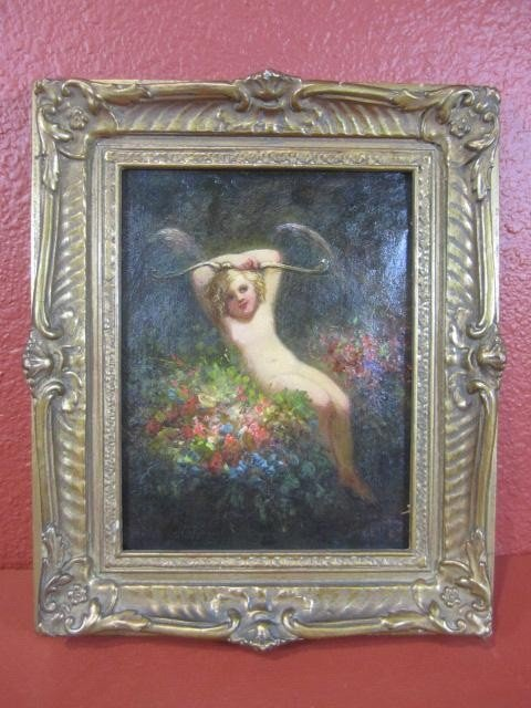 "504: A45-29  SIGNED ""LOUIS LANG"" PAINTING OF ""CUPID"""