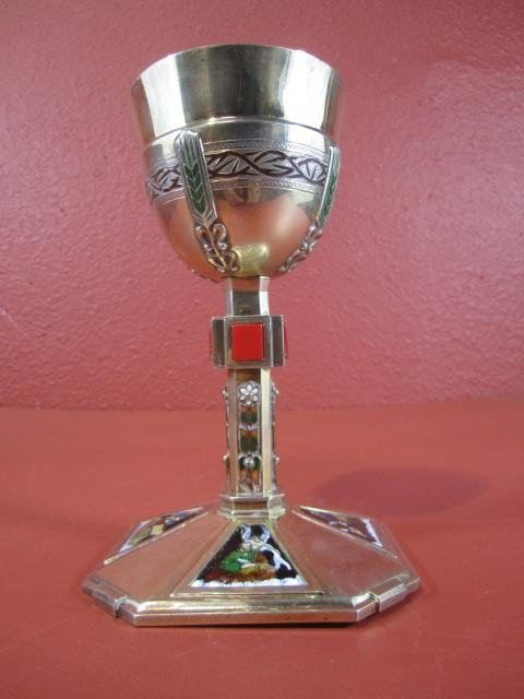 506: A45-31  FRENCH CHALICE WITH LIMOGES PLAQUES