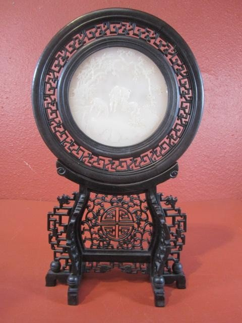 508: A45-33  CARVED WHITE JADE TABLE SCREEN