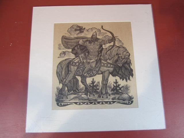 510: A45-35  SIGNED RUSSIAN WOODBLOCK PRINT