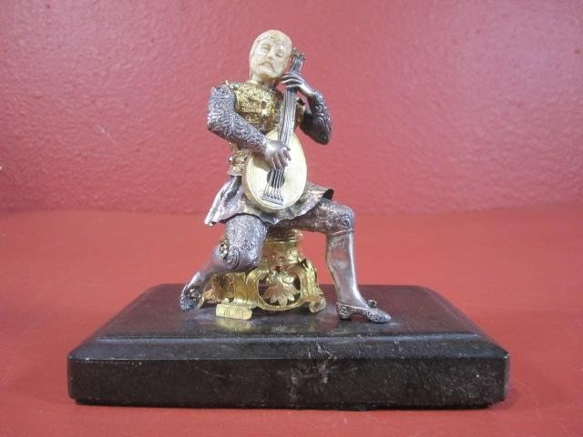 511: A45-36  AUSTRIAN GILT SILVER JEWELED MUSICIAN