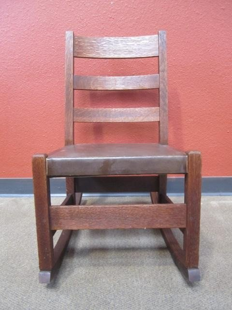 "678: A44-21  SIGNED ""L & JG STICKLEY"" ROCKING CHAIR"
