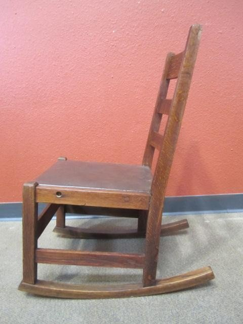 "678: A44-21  SIGNED ""L & JG STICKLEY"" ROCKING CHAIR - 3"