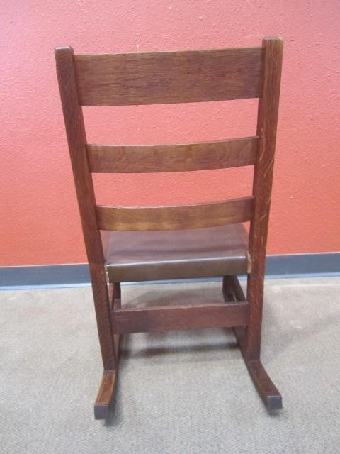 "678: A44-21  SIGNED ""L & JG STICKLEY"" ROCKING CHAIR - 4"