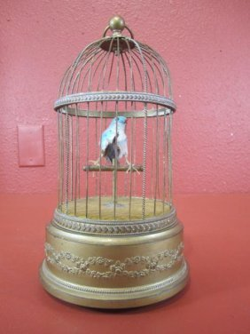 A55-7  ANTIQUE SINGING BIRD IN CAGE