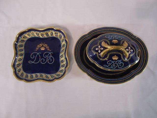 607C: E22-77  TWO JEWELED SEVRES SERVING DISHES
