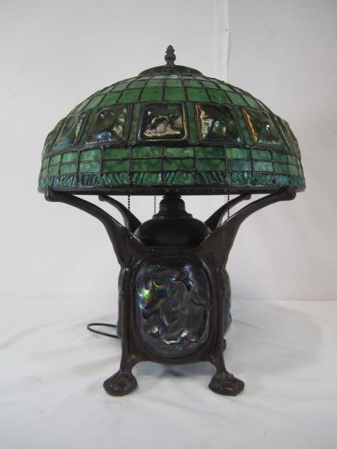 784: E33-22  BRONZE TURTLEBACK LAMP