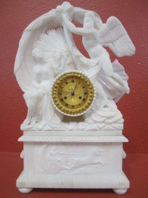 604D: A11-213  ALABASTER FRENCH CLOCK