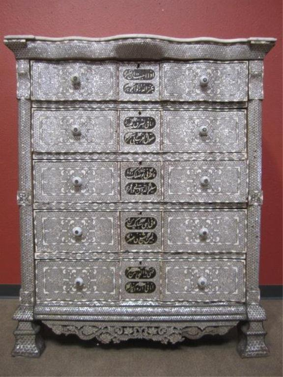 604F: A11-215  INLAID BONE & MOTHER OF PEARL CHEST