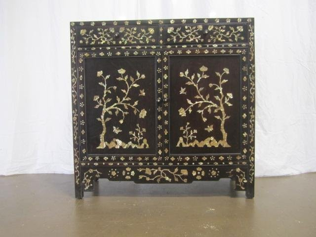 21: E58-1  INLAID MOTHER OF PEARL CABINET