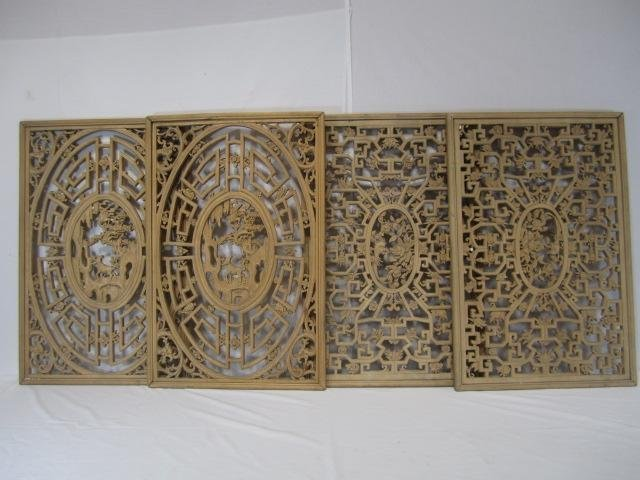 5: A66-5  SET OF 4 CHINESE CARVED HARDWOOD PANELS