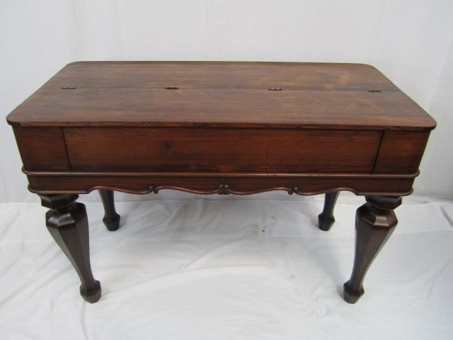 72: A19-10  ANTIQUE WALNUT SPINET DESK - 3