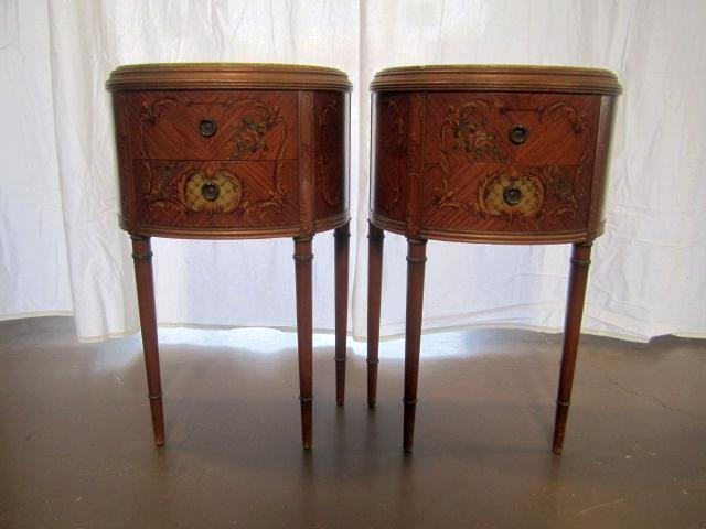 692: E22-9  PAIR OF GILTWOOD 1/2 MOON SIDE TABLES