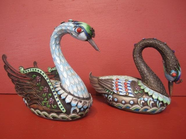 669: E22-36  PAIR OF SILVER, ENAMEL & JEWELED GEESE
