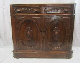 2: E33-2  MARBLE TOP OAK CARVED BUFFET