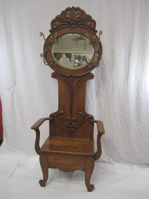 4: E33-4  OAK HALL BENCH WITH MIRROR