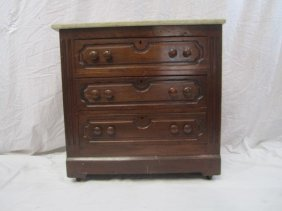 6: E33-6  MARBLE TOP 3 DRAWER CHEST