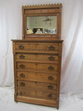 8: E33-8  EASTLAKE 6 DRAWER CHEST WITH MIRROR