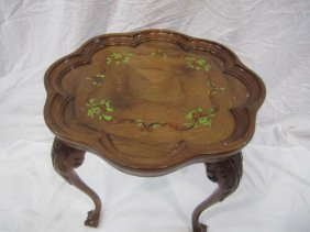 14: E33-15  CARVED PAINTED OCCASIONAL TABLE