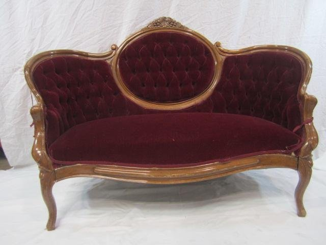 22: E33-23  RED FABRIC CARVED LOVE SEAT