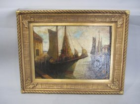 """360: A45-15  """"GLOUSTER FISHING BOATS"""" OIL ON CANVAS"""