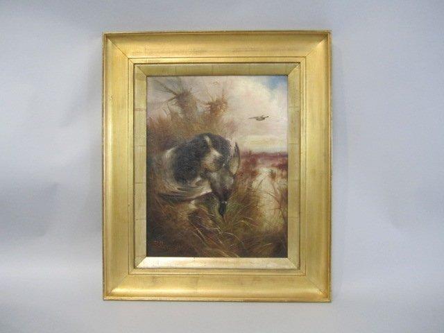 504: A45-4  ROBERT CLEMINSON HUNTING DOG PAINTING