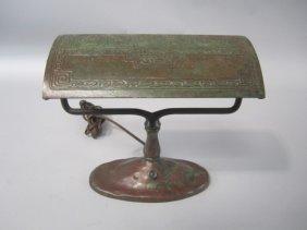 509: A45-9  TIFFANY STUDIOS BRONZE ZODIAK DESK LAMP