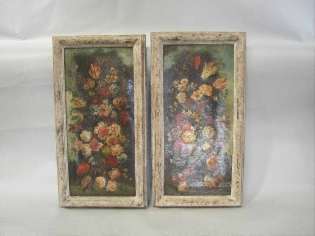 511: H25-10  PAIR OF FLORAL STILL LIFE OIL PAINTINGS