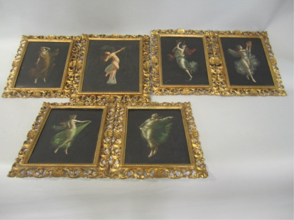 516: H25-15  SET OF SIX FRAMED PAINTINGS