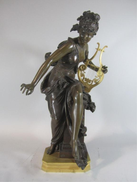 """592: H25-2  FRENCH BRONZE """"MELODIE"""" SCULPTURE"""