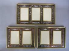 789 H80240  SET OF 3 ENAMEL  BRONZE PICTURE FRAMES