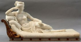 600A: H80-278  LARGE CARERRA  MARBLE STATUE OF PAULINE