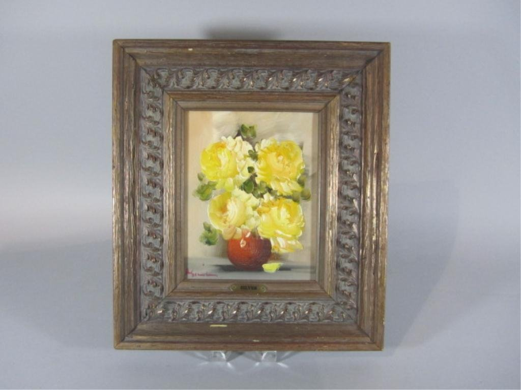 11: H18-19  YELLOW FLOWERS OIL PAINTING