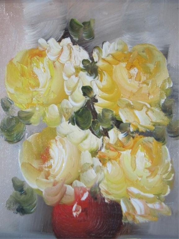 11: H18-19  YELLOW FLOWERS OIL PAINTING - 2