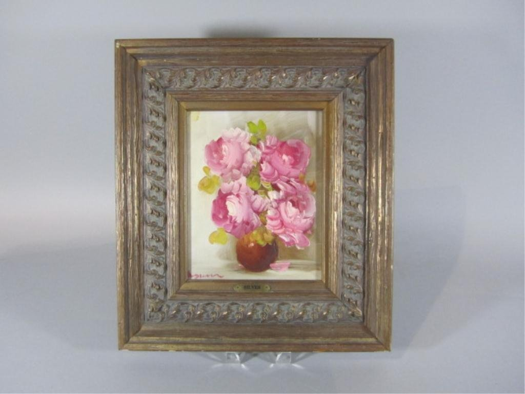 12: H18-20  PINK FLOWERS OIL PAINTING