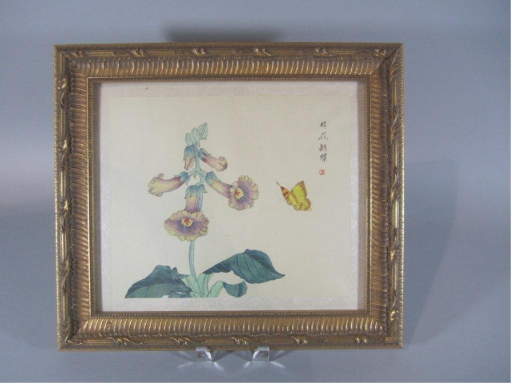 14: H18-22  ASIAN FLOWERS & BUTTERFLY PAINTING