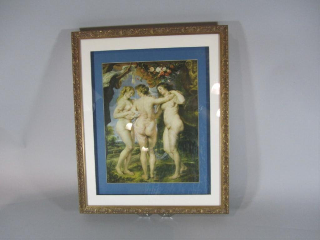 16: H18-26  FRAMED PRINT OF THREE NUDES