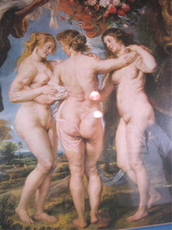16: H18-26  FRAMED PRINT OF THREE NUDES - 2