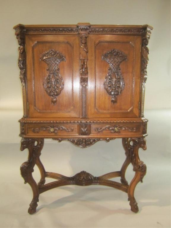33: H18-54  CARVED RECORD CABINET