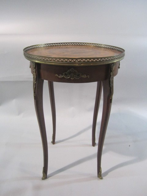 35: H18-60  INLAID MARQUETRY TOP PARLOR TABLE