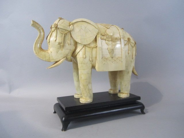 251: A80-1  CARVED WOOD ELEPHANT ON WOOD STAND