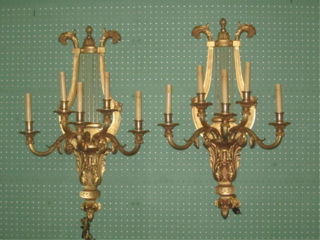 253: A80-3  PAIR GILT BRONZE SCONCES