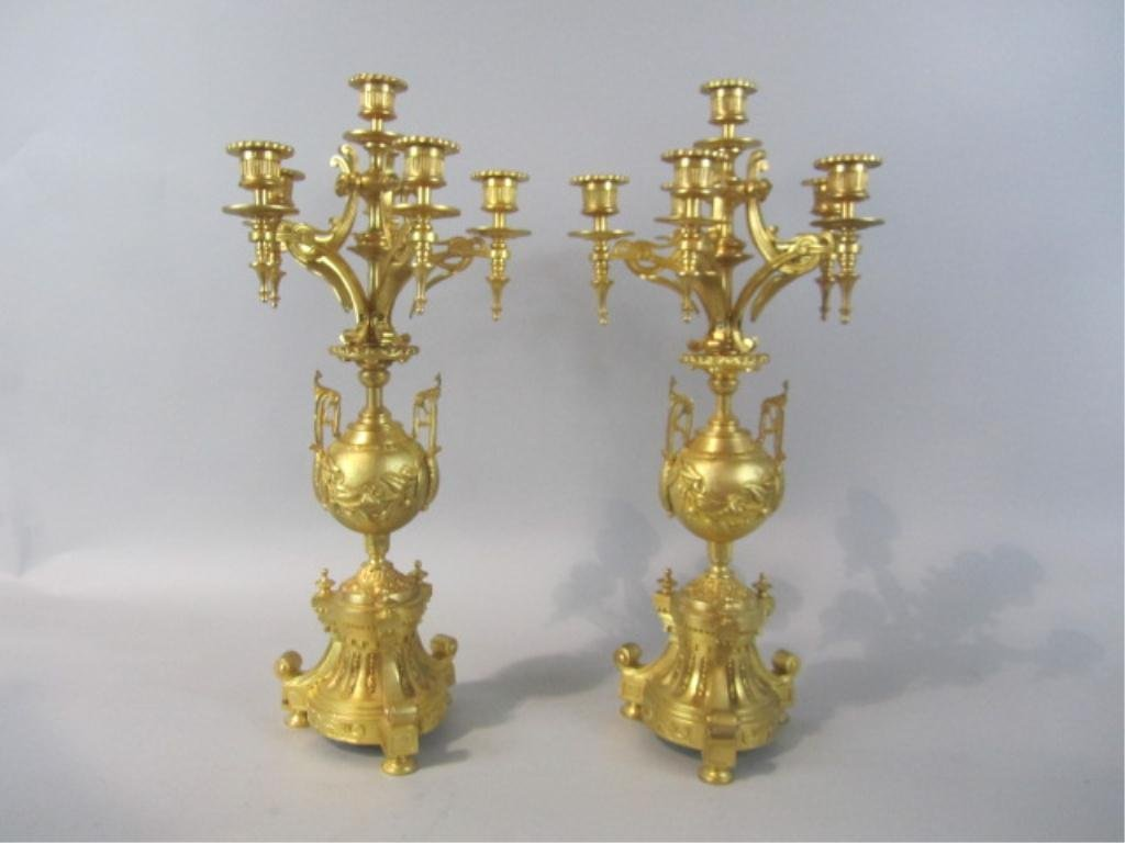 254: A80-4 PAIR GILT BRONZE CNADELABRAS