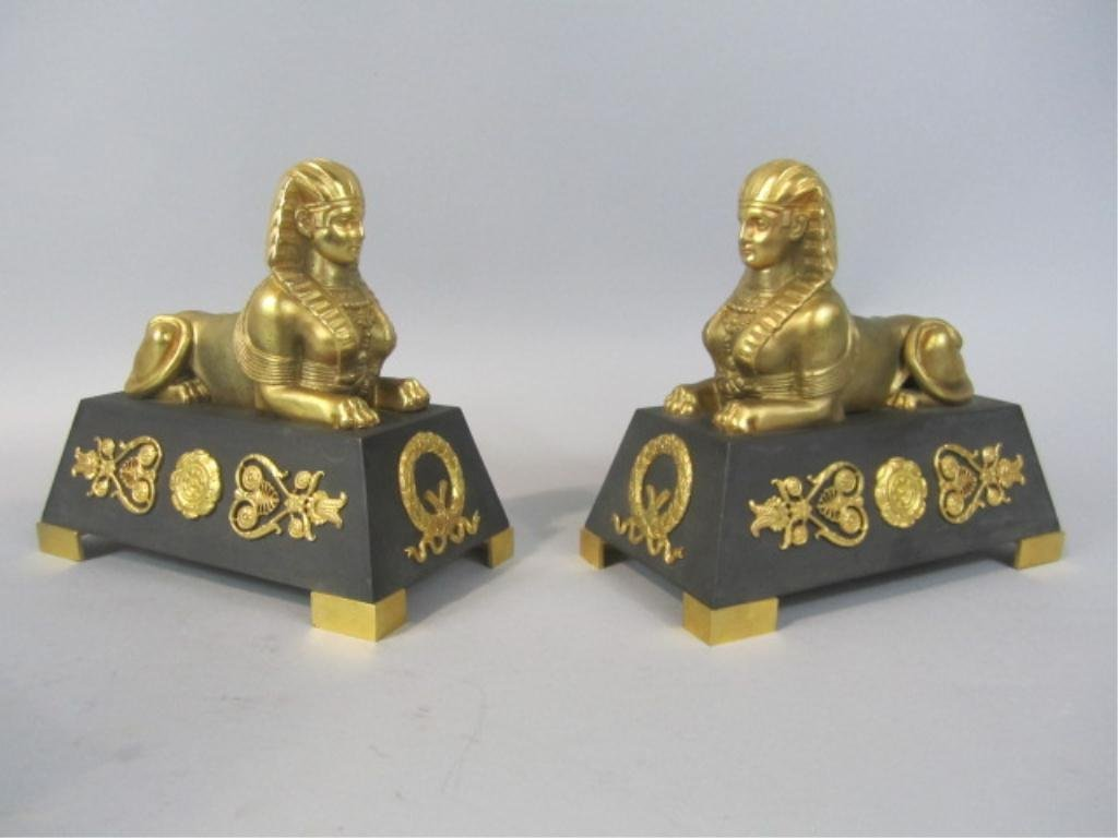 256: A80-6  PAIR OF BRONZE SPHINX