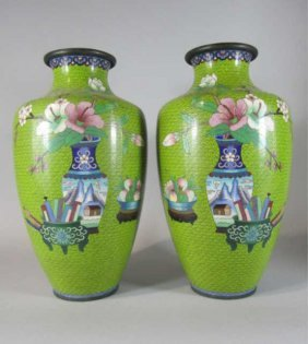 NY55  PAIR OF CHINESE CLOISONNE VASES