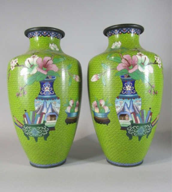 70: NY55  PAIR OF CHINESE CLOISONNE VASES