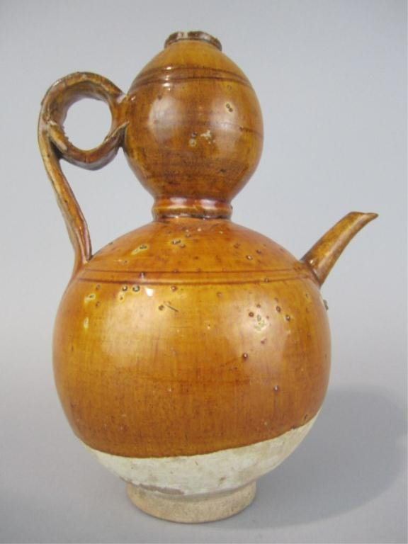 78: NY40  TANG DYNASTY GOURD SHAPED WATER VESSEL