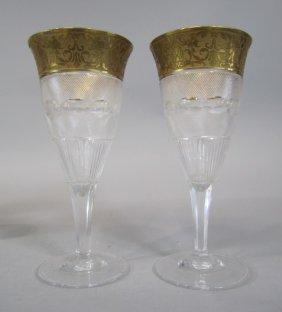 H80-196  PAIR OF MOSER SPLENDID GOLD WINE GLASSES