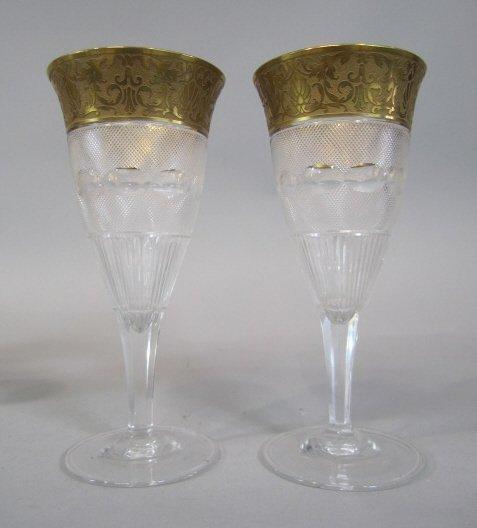 40: H80-196  PAIR OF MOSER SPLENDID GOLD WINE GLASSES