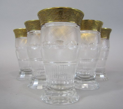 41: H80-197  SET OF 6 MOSER SPLENDID GOLD TUMBLERS - 3